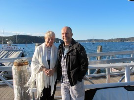 Mom and Tim, Tennis wharf Scotland Island