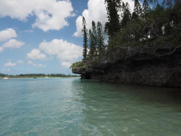 Overhanging limestone cliffs